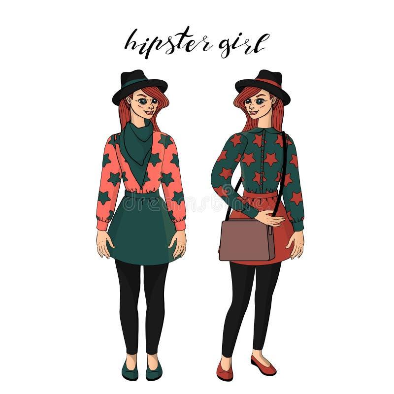 时髦的葡萄酒成套装备身分的美丽的年轻行家女孩 库存例证