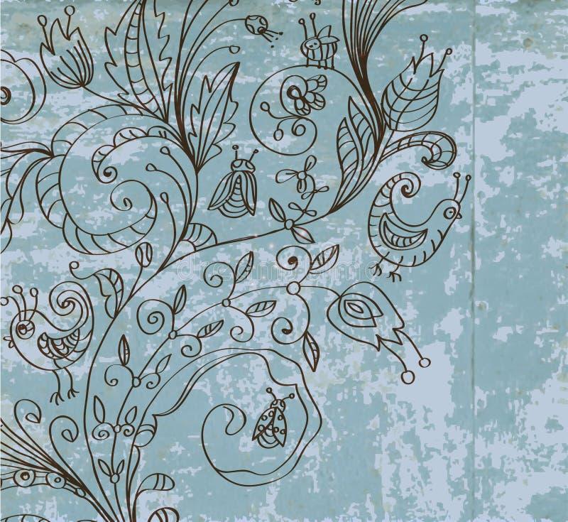 时髦的葡萄酒花卉背景 库存例证