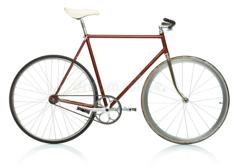 时髦的行家自行车-在白色隔绝的固定的齿轮 免版税图库摄影