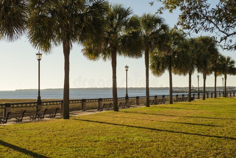 时髦的长凳在夏天公园 免版税库存图片