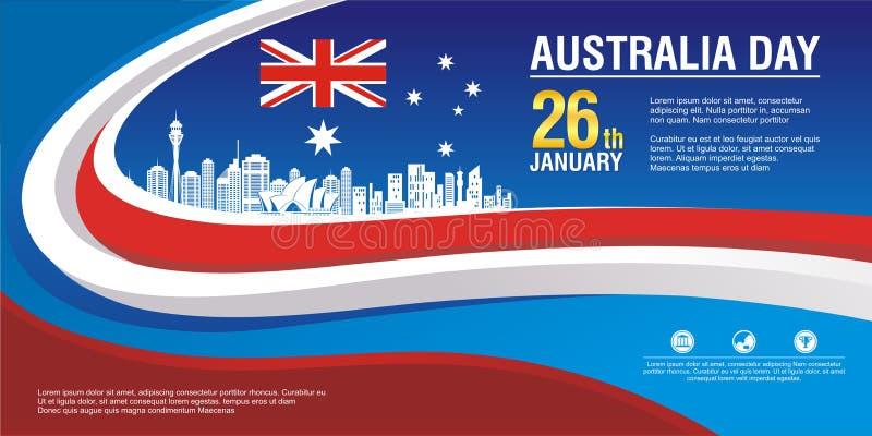 时髦的飞行物,与澳大利亚旗子样式和波浪设计 向量例证