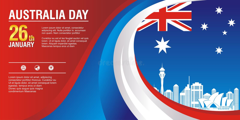 时髦的飞行物,与澳大利亚旗子样式和波浪设计 皇族释放例证
