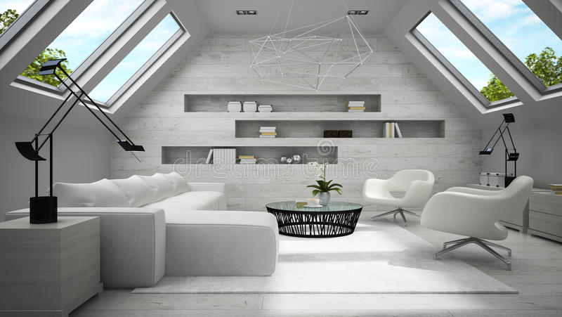 时髦的轻的有双重斜坡屋顶的房屋的室3D翻译内部  库存图片