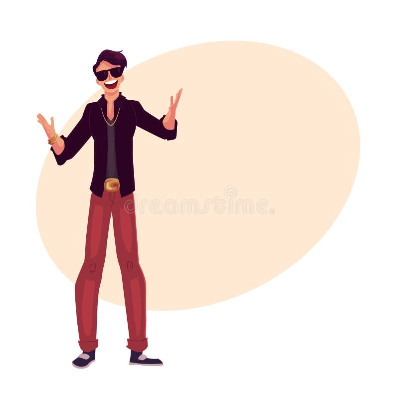 年轻时髦的clubber人佩带的太阳镜和金黄链子 库存例证