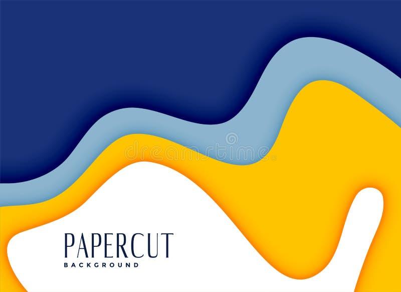 时髦的papercut黄色和蓝色层数背景 库存例证