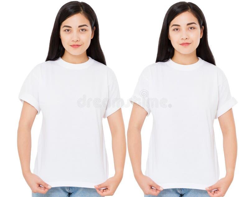 时髦的T恤杉的年轻韩国女人在白色背景 设计亚裔女孩的大模型 库存照片