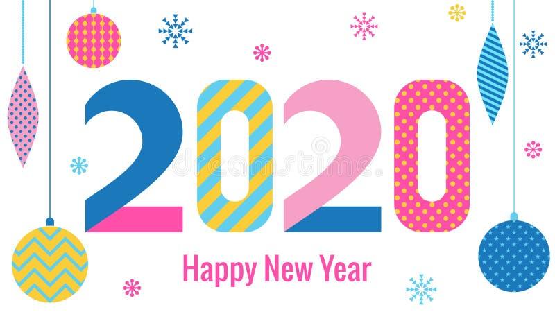 时髦看板卡的问候 新年快乐2020年 在80s-90s孟菲斯样式的时髦几何字体  数字和抽象圣诞节球 库存例证