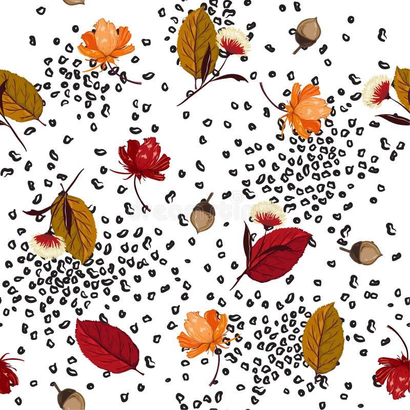 时髦秋叶、松果和花元素与anim混合 向量例证