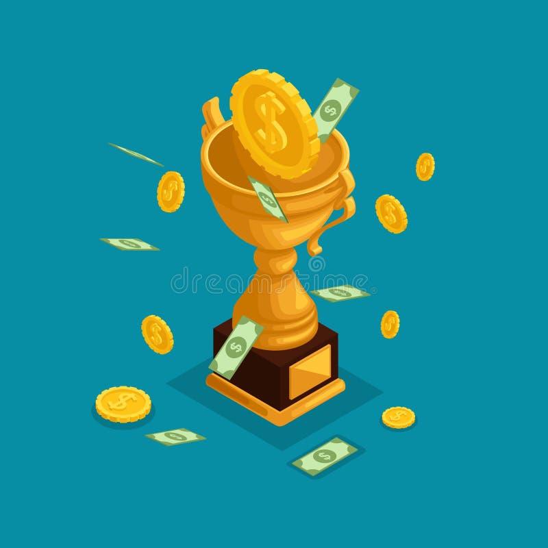 时髦等量对象,3d杯子,奖,金钱奖,从天空的金钱秋天,金币,现金美元,许多金钱 向量例证