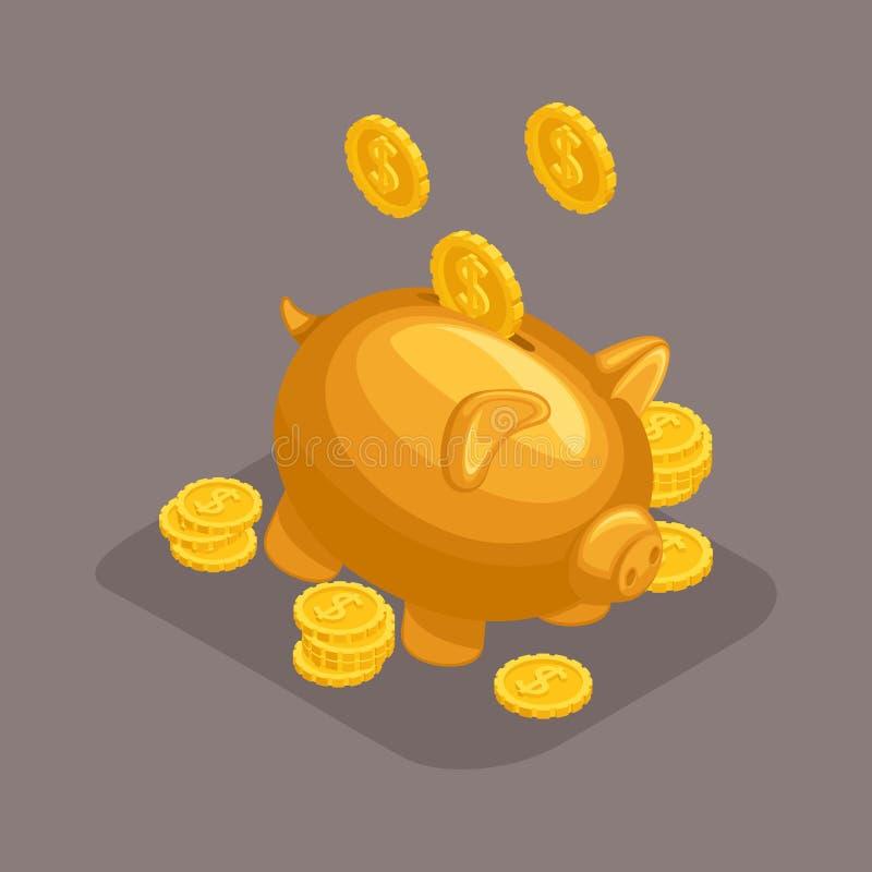时髦等量对象,3d moneybox,银行存款概念,金黄猪,金币落 向量例证