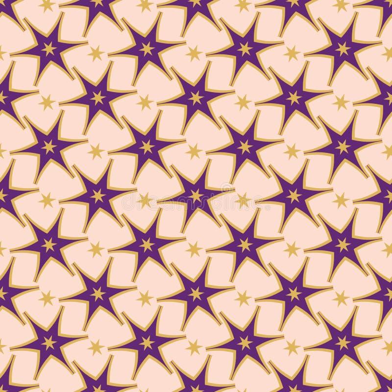 时髦紫色星装饰无缝的传染媒介样式 库存例证