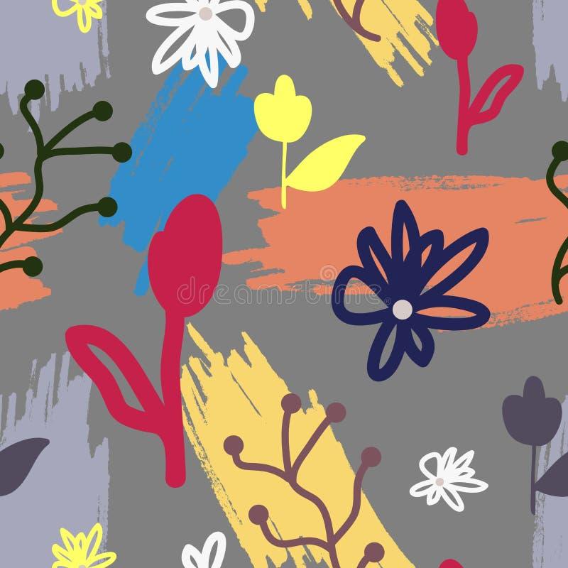 时髦花卉无缝的样式 抽象花和用手被绘的刷子冲程 皇族释放例证