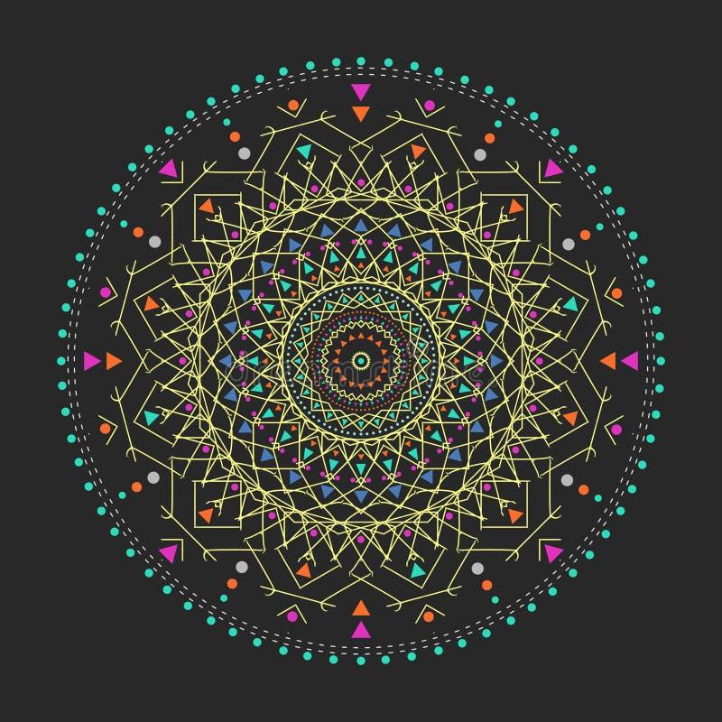 时髦行家色环,明亮的哲学标志,是宗教的圆元素, 皇族释放例证