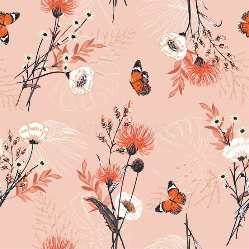 时髦许多种类花,植物,植物,蝴蝶, s 向量例证