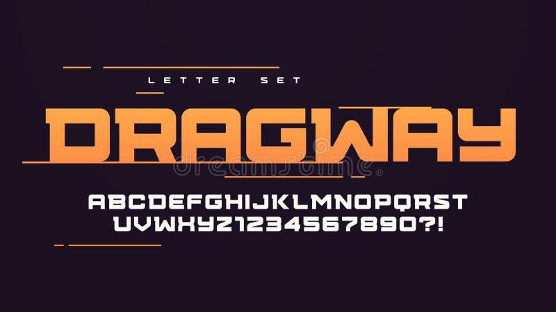 时髦都市样式体育传染媒介字母表,大写字目集合,字体,印刷术 向量例证