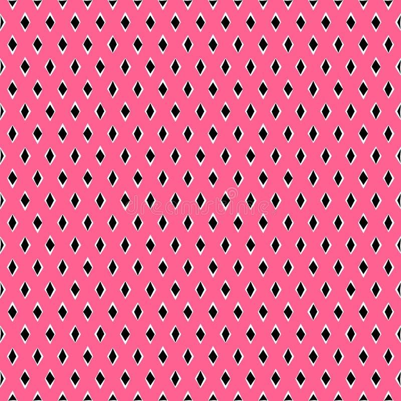 时髦黑白菱形的夏天无缝的样式,在明亮的桃红色背景,传染媒介 库存例证
