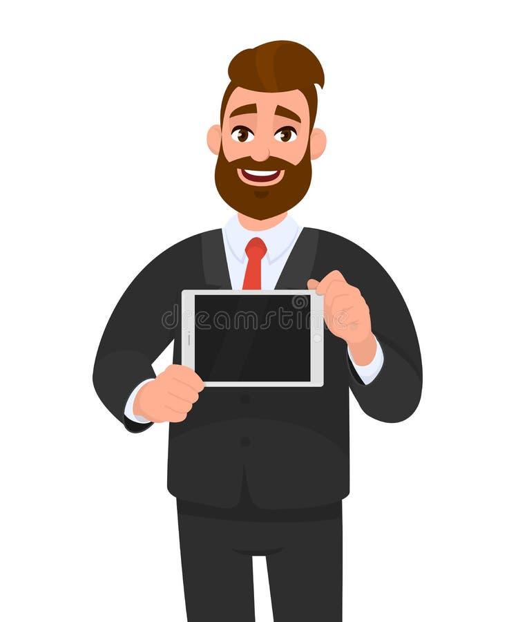 时髦,愉快的年轻有胡子的商人陈列/拿着数字片剂计算机黑屏在手上 现代技术 向量例证