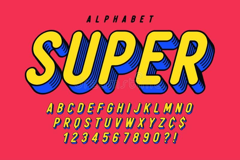 时髦3d可笑铅印设计,五颜六色的字母表,字体 皇族释放例证