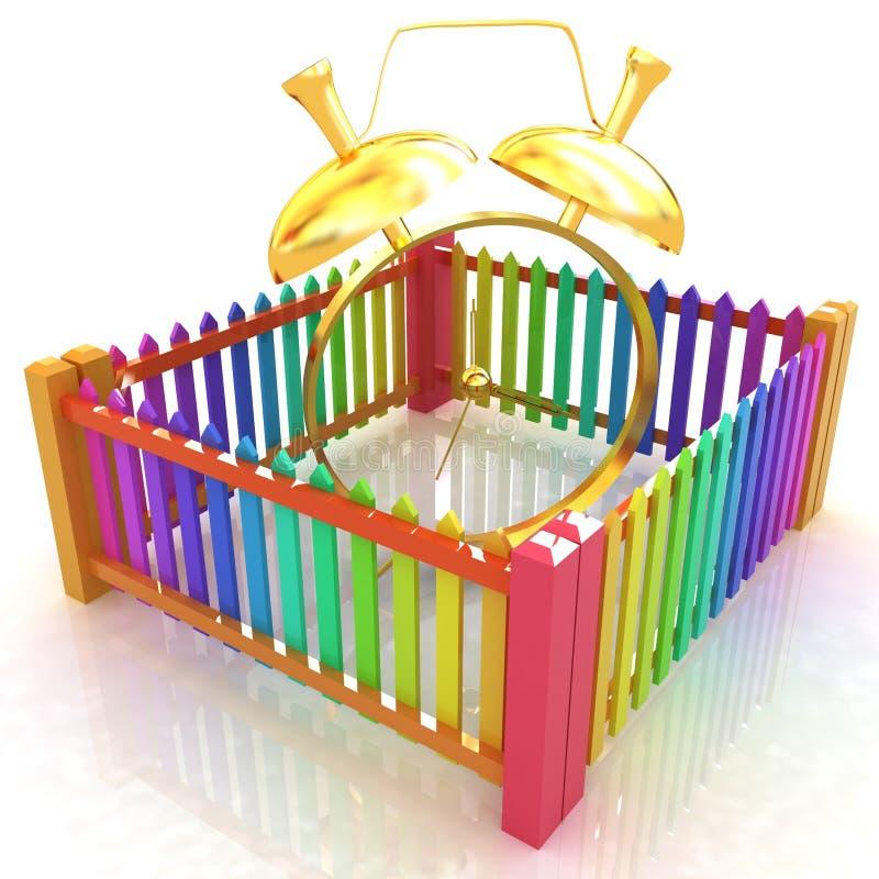 时间保护概念。金闹钟时钟闭合的colorfull篱芭 向量例证