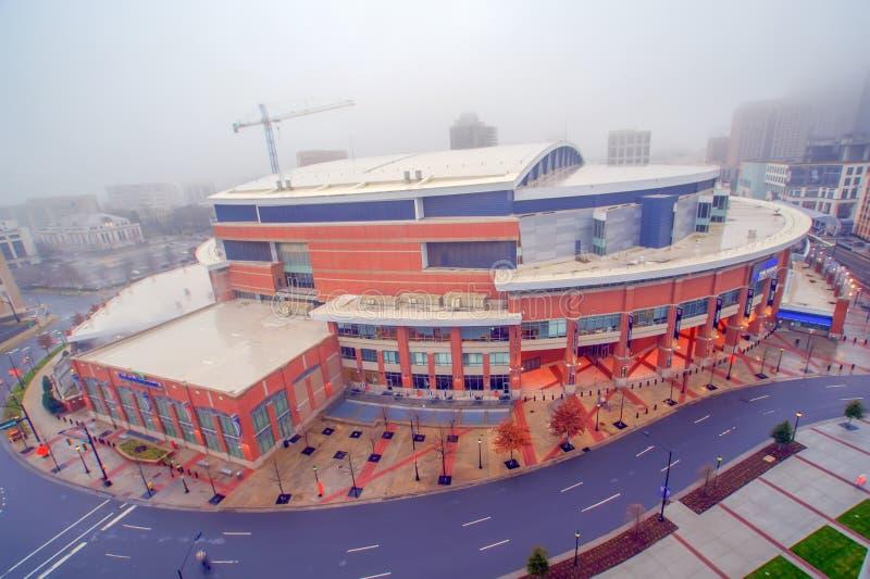 时代华纳缆绳竞技场在街市夏洛特,北部Carolin 免版税库存照片