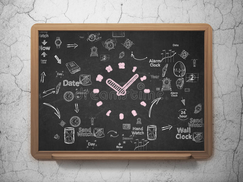 时间安排概念:在校务委员会背景的时钟 向量例证