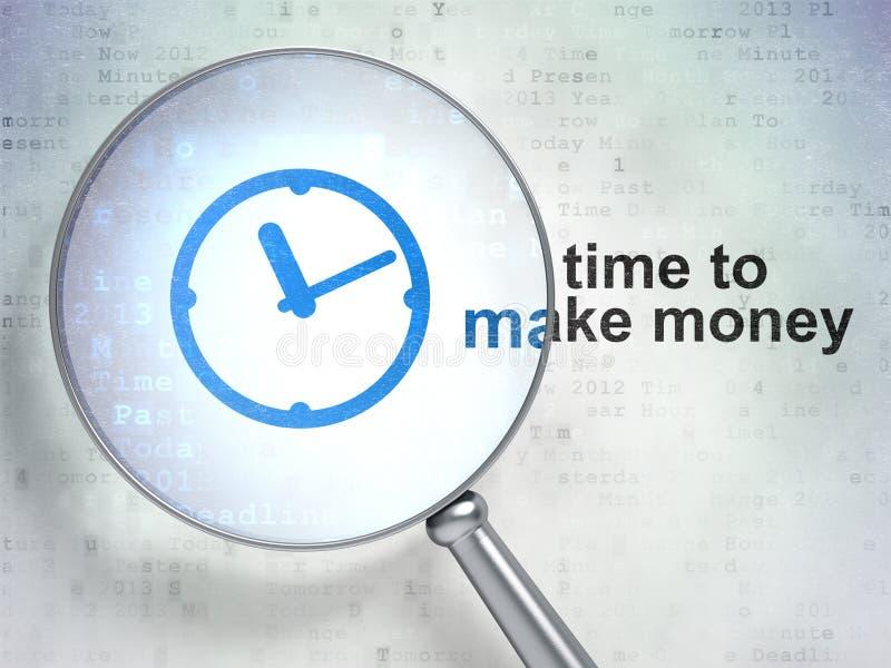时间安排概念:时钟和时刻挣金钱 皇族释放例证