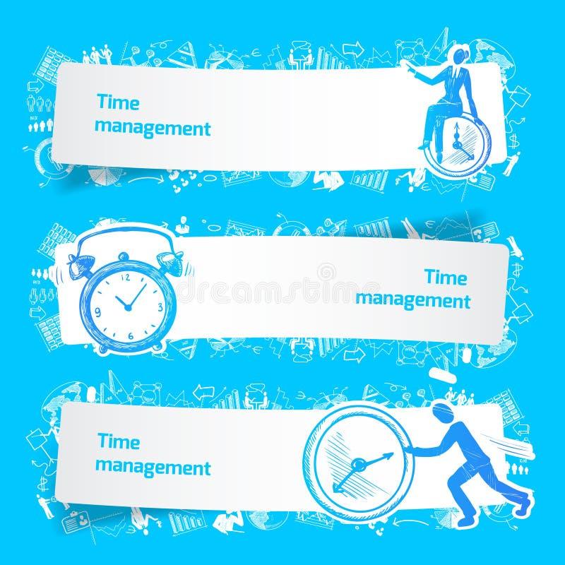 时间安排集合横幅剪影 库存例证