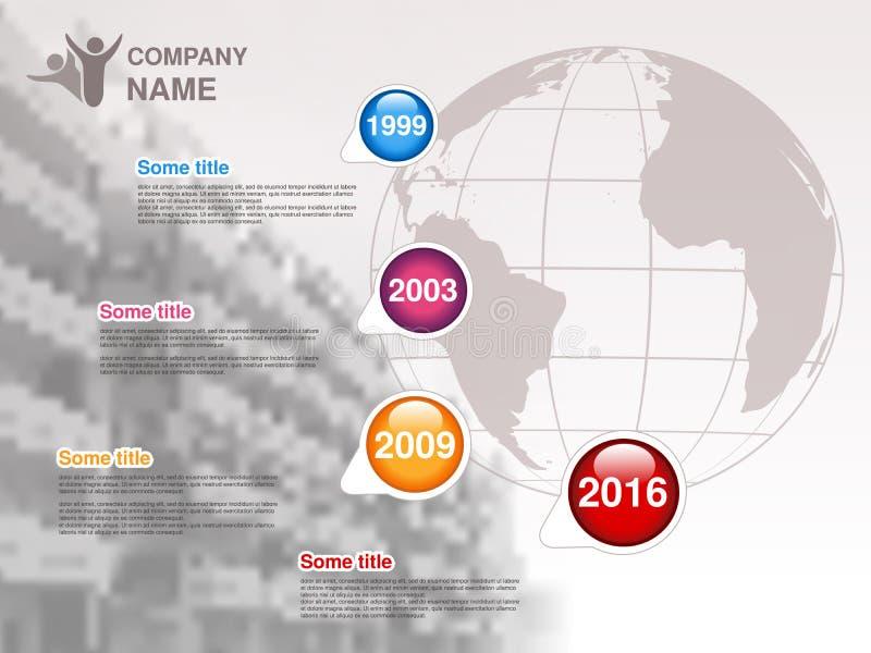 时间安排 公司的Infographic模板 与蓝色五颜六色的里程碑的时间安排-,洋红色,橙色,红色 与gl的图形设计 向量例证