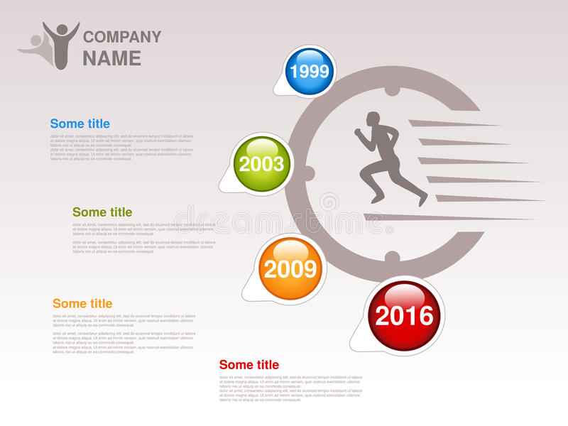 时间安排 公司的Infographic模板 与蓝色五颜六色的里程碑的时间安排-,绿色,橙色,红色 单独ye的尖 皇族释放例证