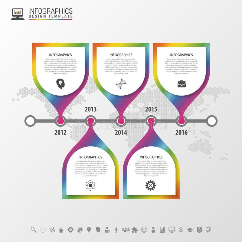 时间安排infographic与世界地图 五颜六色的现代设计模板 也corel凹道例证向量 库存例证