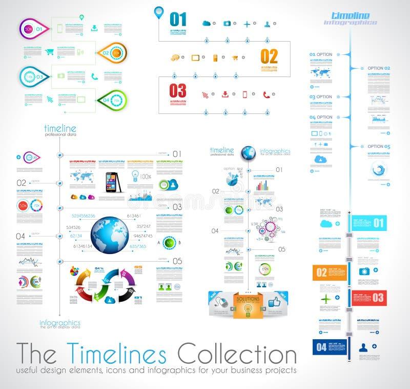 时间安排Infographic与纸标记的设计模板 库存例证