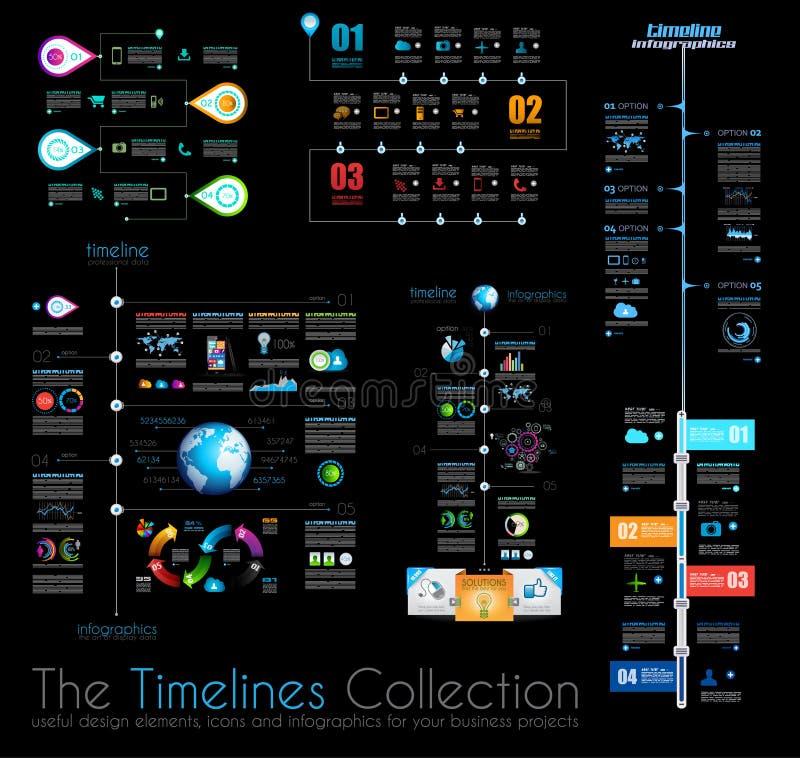 时间安排Infographic设计模板设置了1在黑色 库存例证