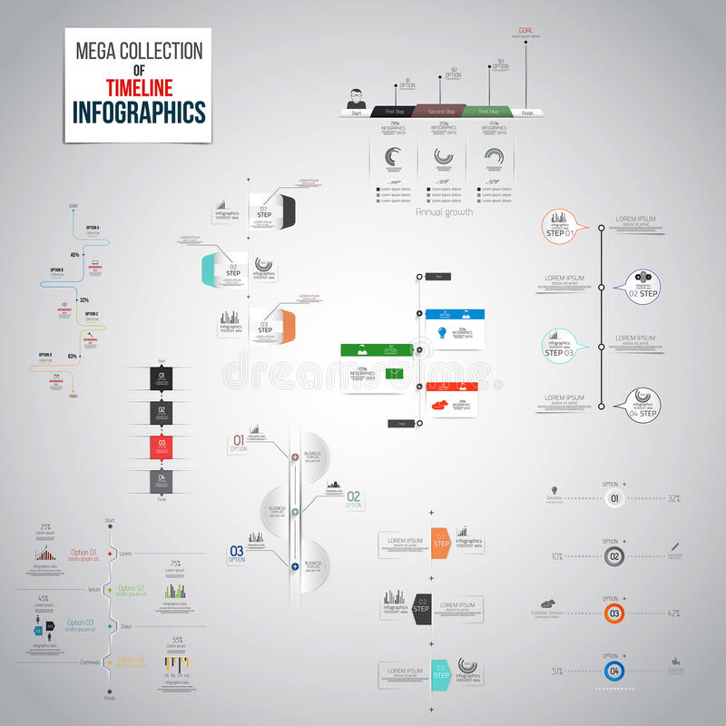 时间安排Infographics对象的兆收藏 库存例证
