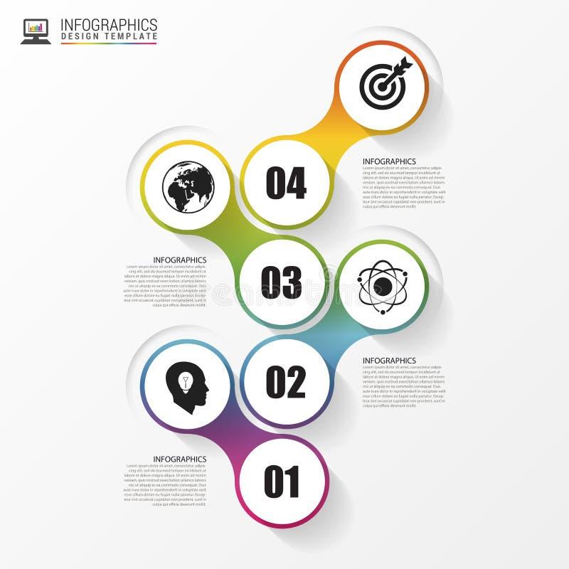 时间安排infographics模板 五颜六色的现代设计 向量 向量例证