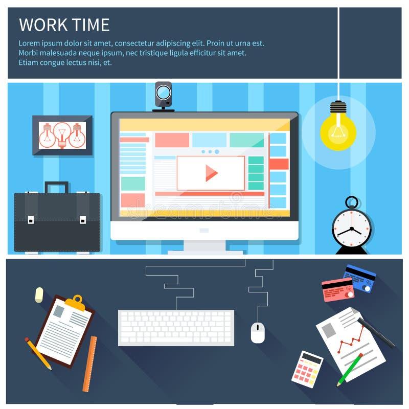 时刻工作和处理 向量例证