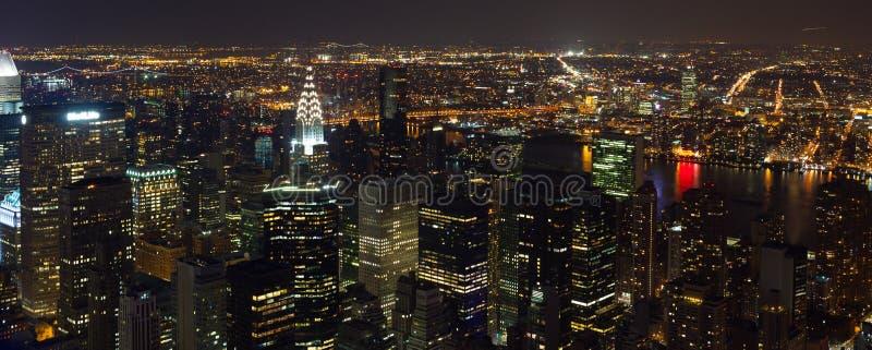 时代广场全景鸟瞰图在晚上 免版税库存照片