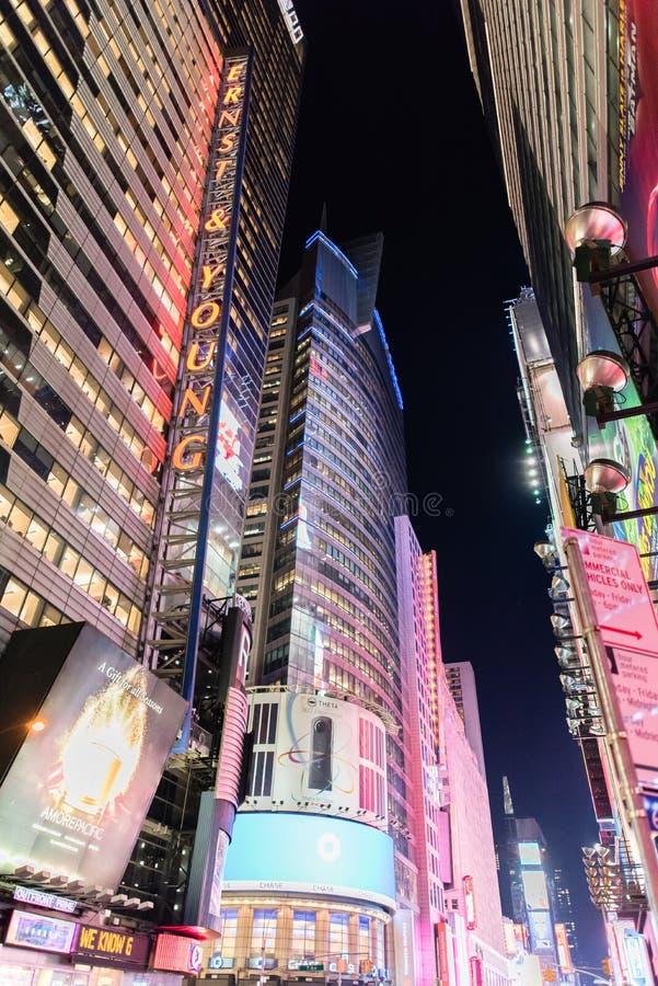 时代广场在晚上,纽约 库存图片