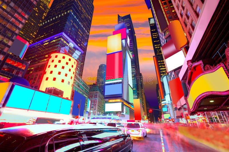 时代广场曼哈顿纽约被删除的广告 免版税库存照片