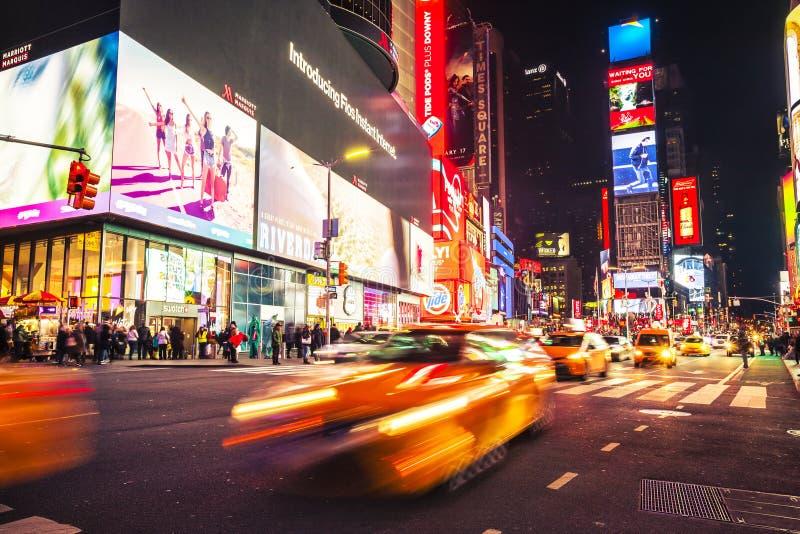 时代广场纽约夜 库存照片