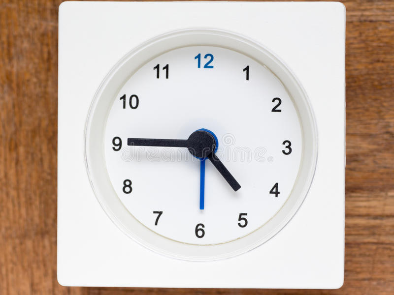 时间序列的系列在简单的白色模式时钟的 免版税库存照片