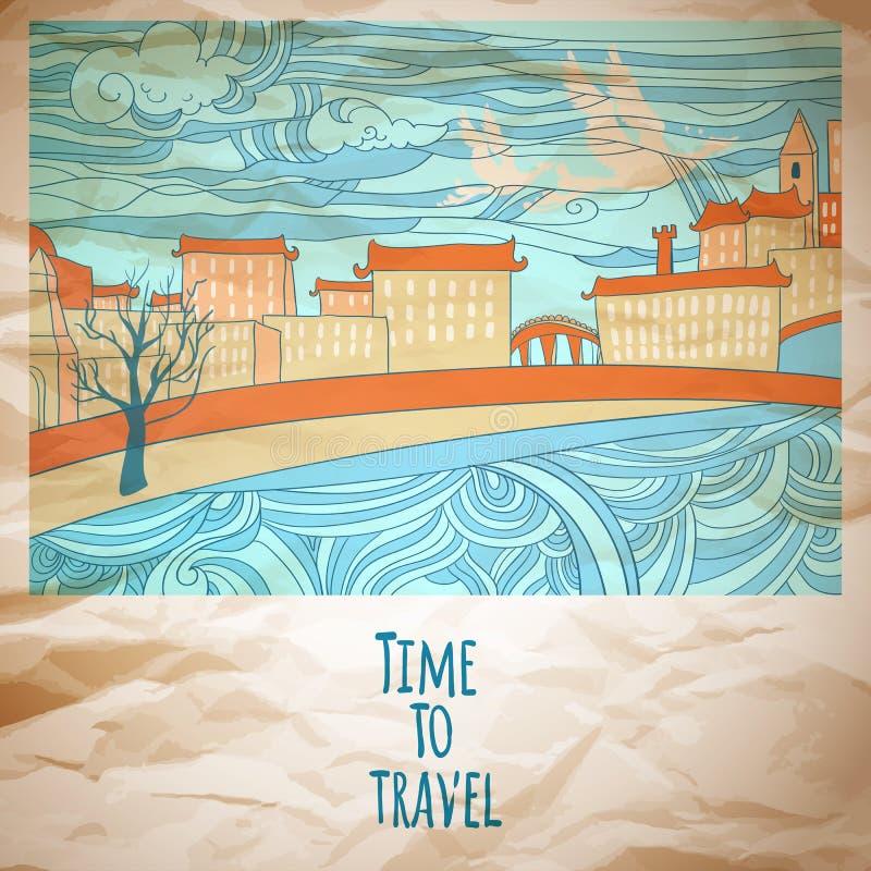 时刻旅行抽象图画卡片 向量例证