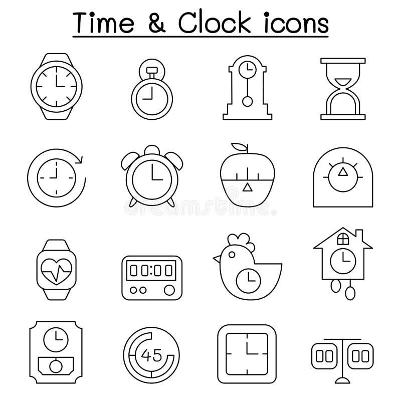时间&时钟象在稀薄的线型设置了 库存例证