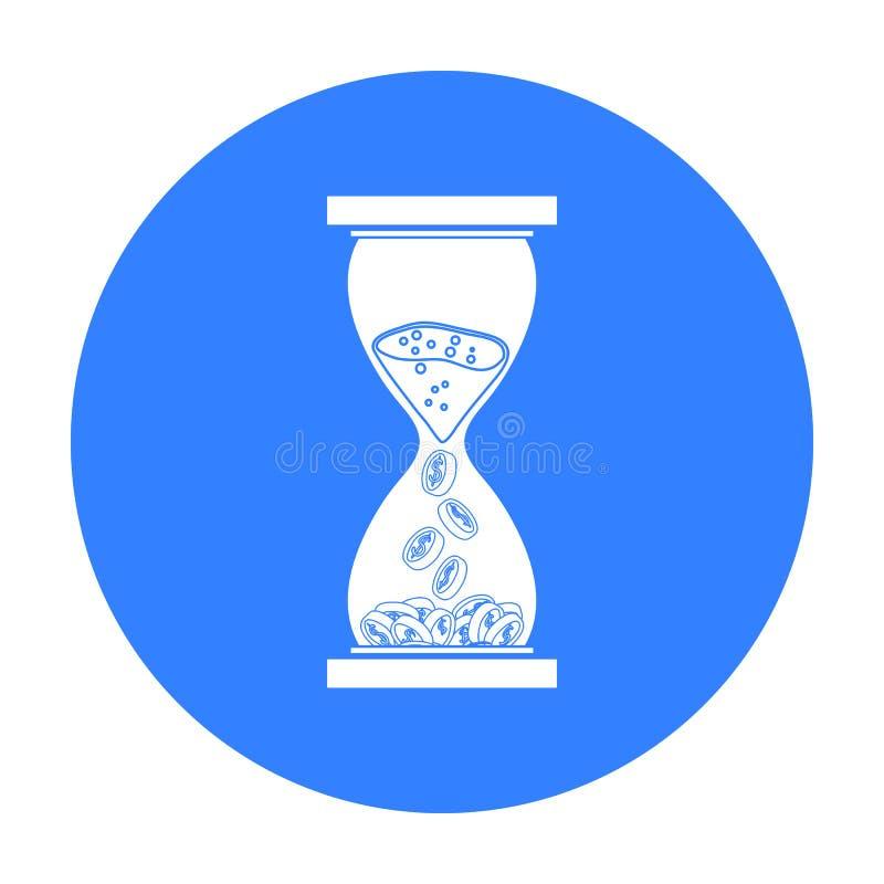 时间是在白色背景在黑样式的金钱象隔绝的 金钱和财务标志股票传染媒介例证 库存例证