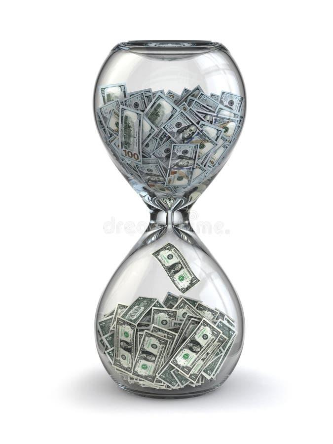 时间是金钱。通货膨胀。滴漏和美元。 库存例证