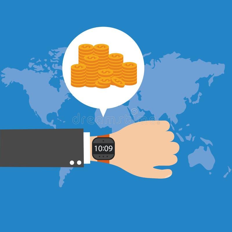时间是货币概念 在事务和产业的时间安排 向量 向量例证