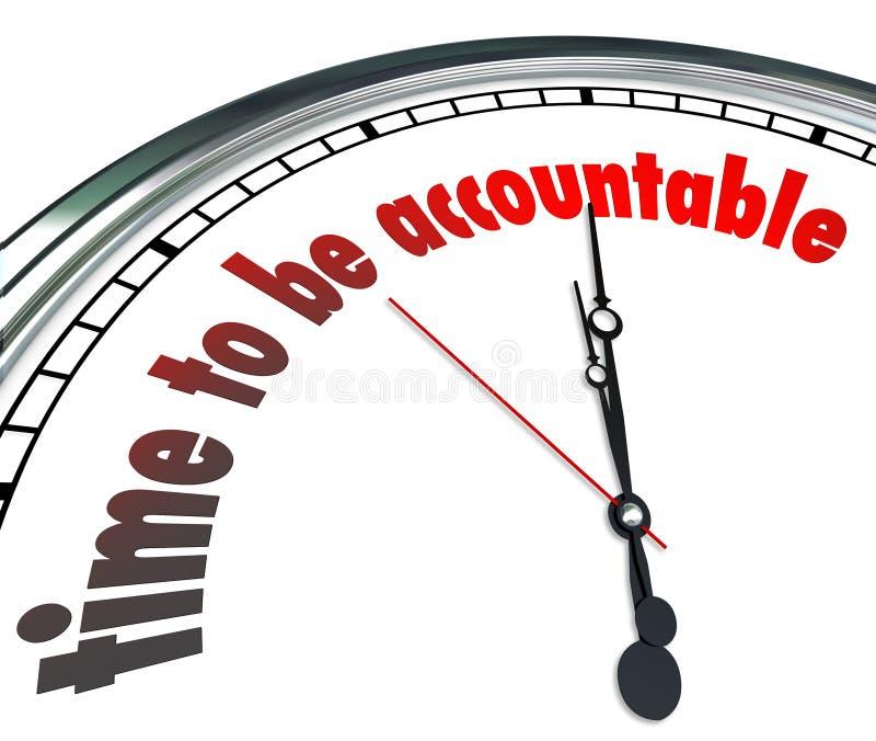 时刻是负责任有责任的时钟接受归属 库存例证
