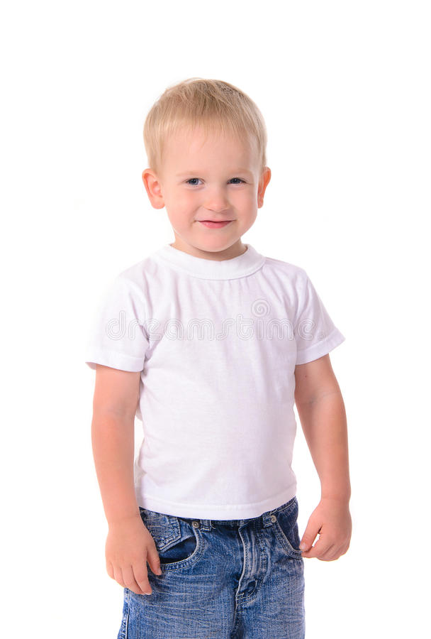 时兴的小男孩画象白色衬衣的 库存图片