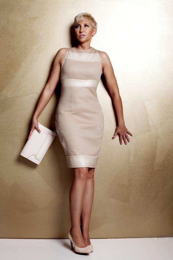 时兴的礼服的典雅的白肤金发的妇女 库存照片
