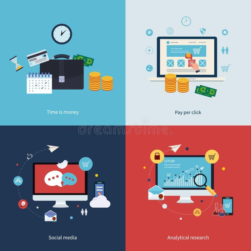 时间的象是金钱,薪水每点击,在网上 库存例证