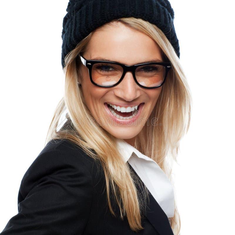 时兴的年轻白肤金发的妇女 图库摄影